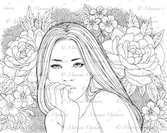 Floral - digital stamp, colouring page, printable, instant download