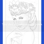 Mermaid Queen by Mayumi Ogihara - colouring page, printable, instant download, digital stamp