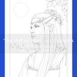 Moon Glow by Mayumi Ogihara - colouring page, printable, instant download, digital stamp