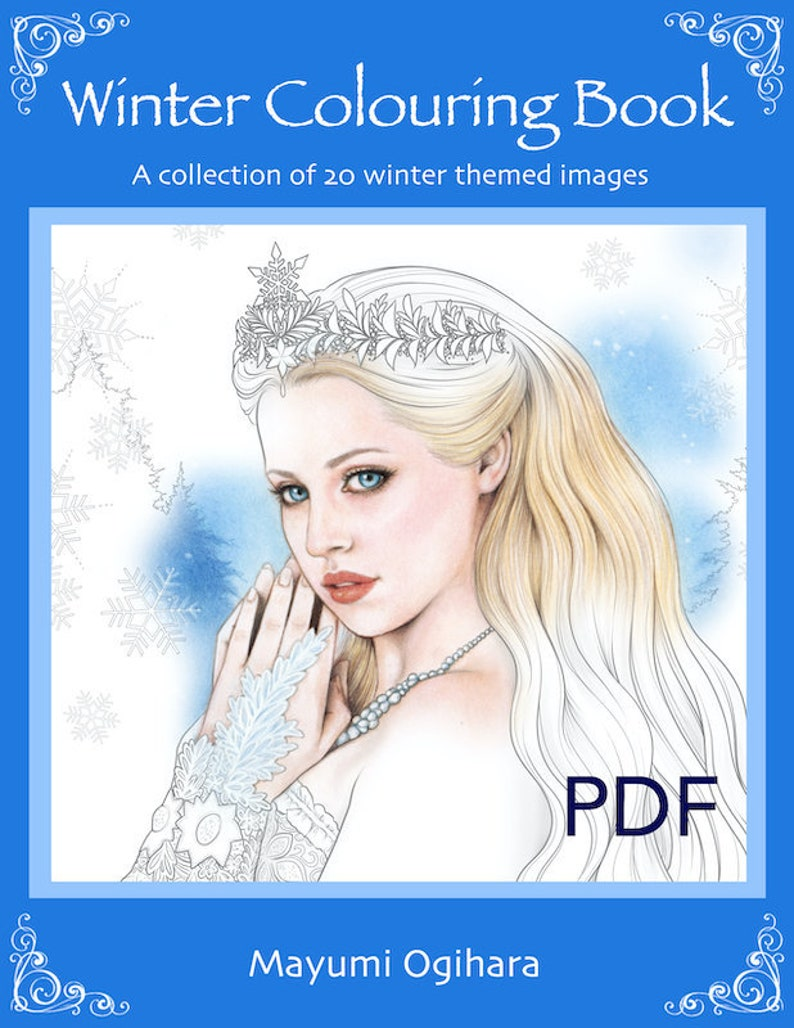 Winter Colouring Book  line art with light shading  by image 0