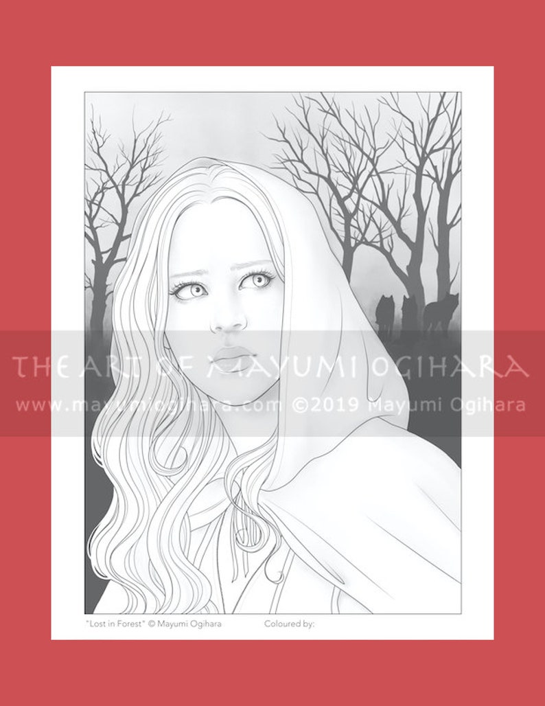 Lost in the Forest by Mayumi Ogihara  colouring page image 0