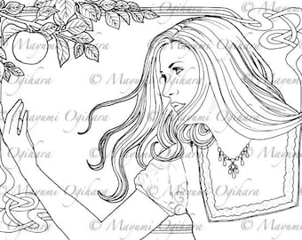 Forbidden Fruit - digital stamp, colouring page, printable, instant download