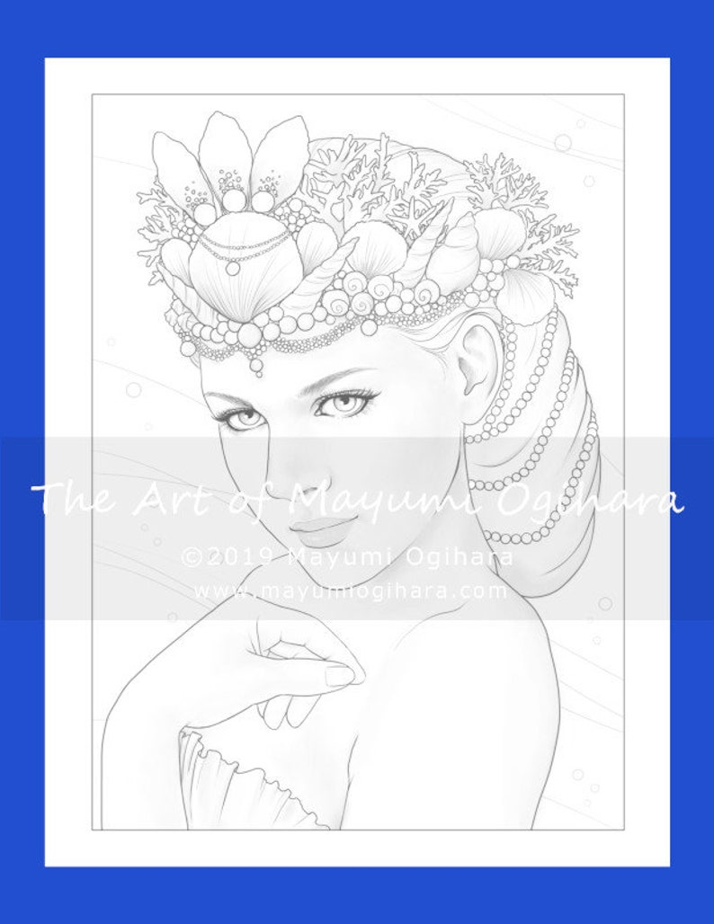 Mermaid Queen by Mayumi Ogihara  colouring page printable image 0