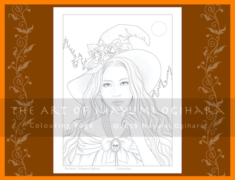 The Witch by Mayumi Ogihara  colouring page printable image 0