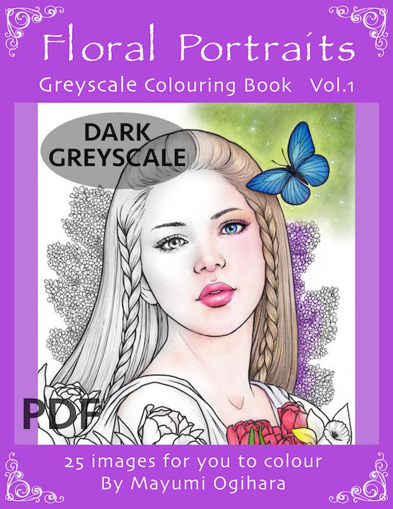 DARK GREYSCALE Floral Portraits  colouring book by Mayumi image 0