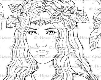Lady of the Forest - digital stamp, colouring page, printable, instant download