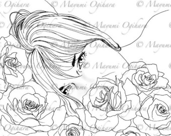 Spring Rose - digital stamp, colouring page, printable, instant download