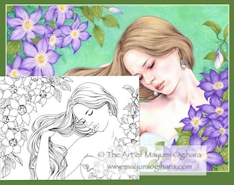 Shades of Violet - digital stamp, colouring page, printable, instant download