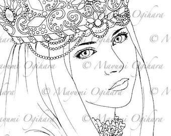 Winter Bride - digital stamp, colouring page, printable, instant download