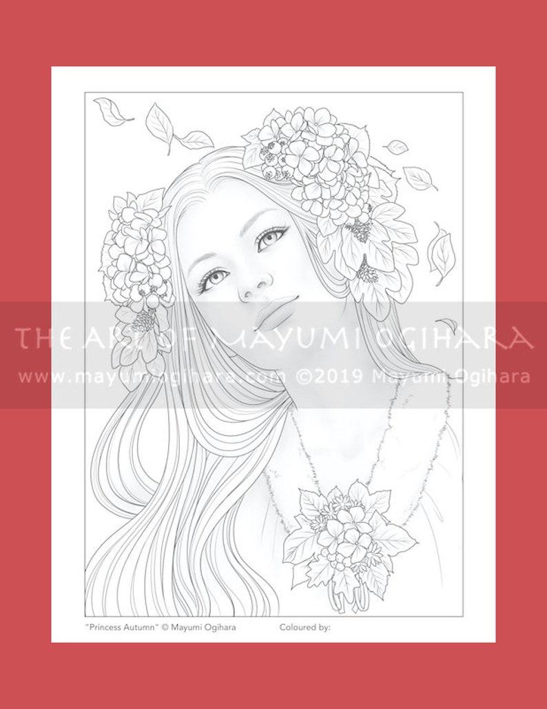 Princess Autumn by Mayumi Ogihara  colouring page printable image 0