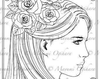Roses In Her Hair - digital stamp, colouring page, printable, instant download