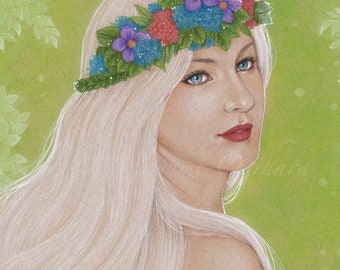 Enchantress - Open edition art print, colored pencil drawing