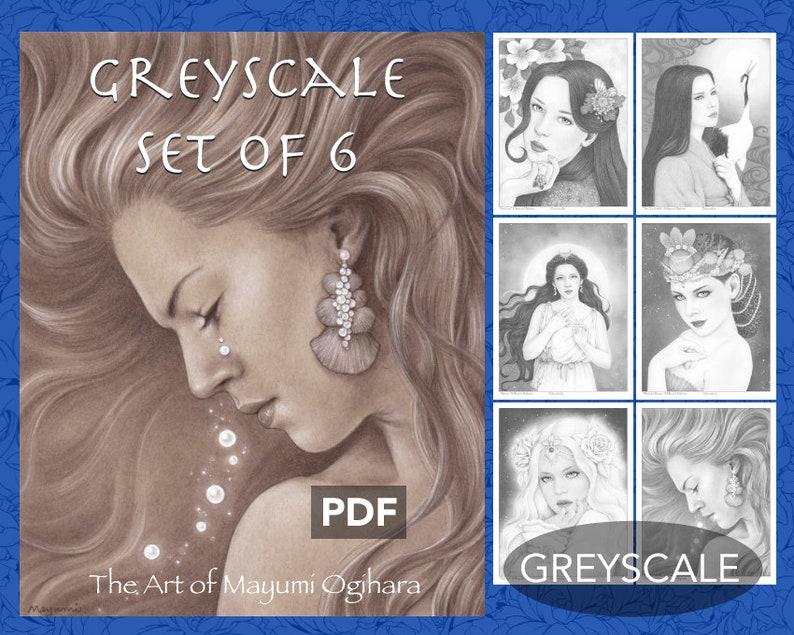 Greyscale Pack Set of 6  by Mayumi Ogihara PDF instant image 0