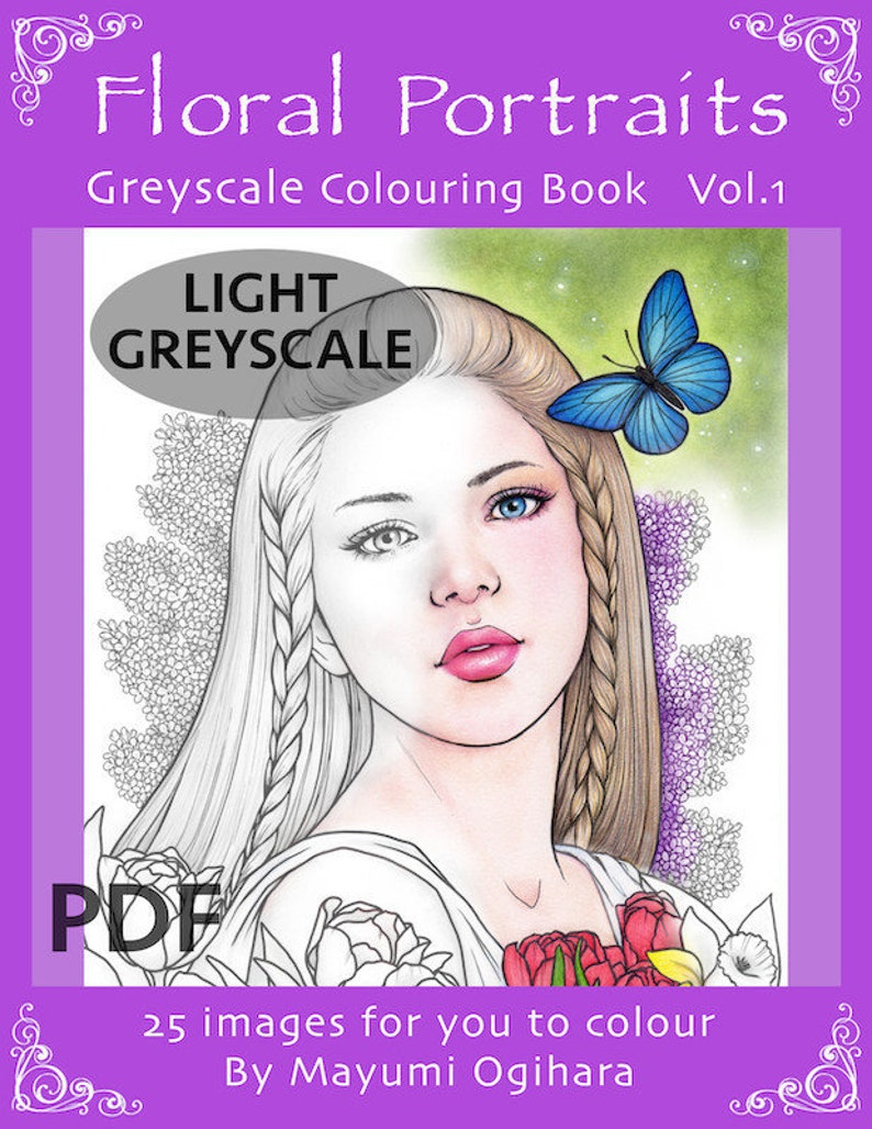 LIGHT GREYSCALE Floral Portraits  colouring book by Mayumi image 0
