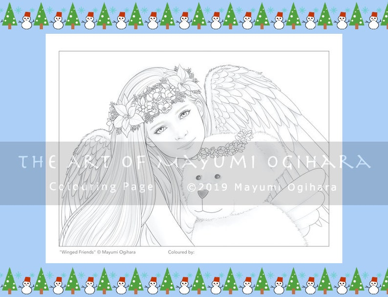 Winged Friends by Mayumi Ogihara  colouring page printable image 0
