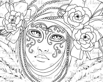 Venetian Mask - digital stamp, colouring page, printable, instant download