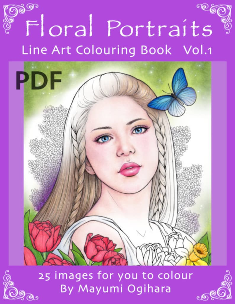 Floral Portraits Vol.1  line art colouring book by Mayumi image 0