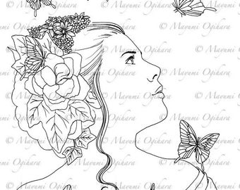 Papillon - digital stamp, colouring page, printable, instant download