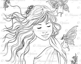 I Do Believe In Fairies - digital stamp, colouring page, printable, instant download