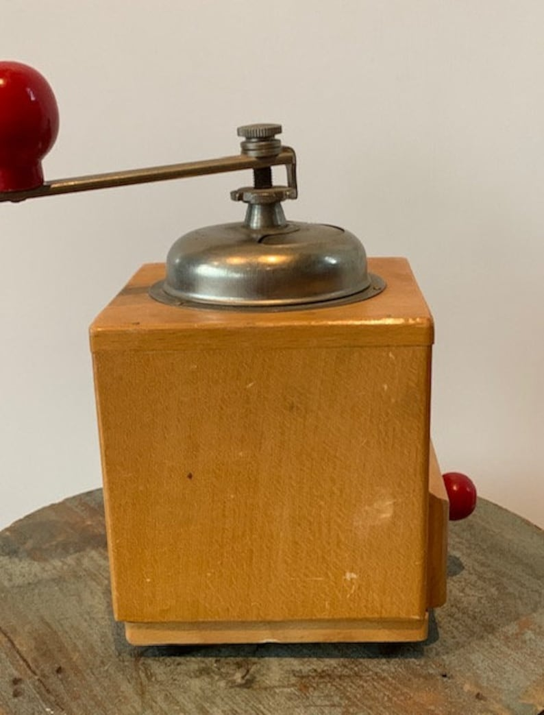 Vintage Italian Coffee Grinder by Coff Red Knobs Wood and Metal Farmhouse Decor Collectible Coffee Makers Home Appliances