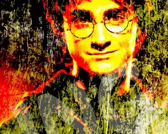 Daniel Radcliffe as Harry Potter instant digital download art print picture grunge