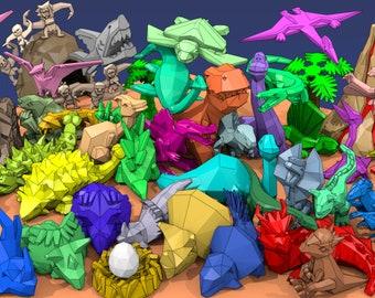 3D models, #LowPolyDino Low Poly Dinosaur Kickstarter models