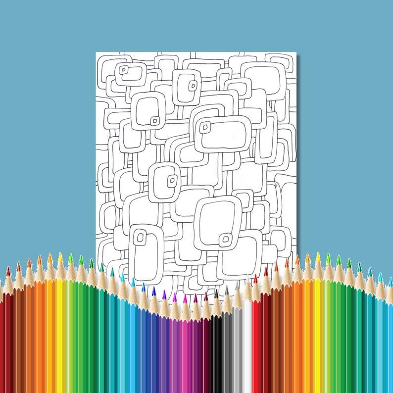 Páginas Para Colorear Para Adultos Infinito Rectángulos Zentangle Instantánea Descargar