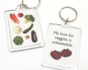 My love for veggies is unbeetable Key Chain / Keychain / Vegan Keychain / Vegetarian Keychain/ Farmer Keychain / Vegetable Keychain / Pun
