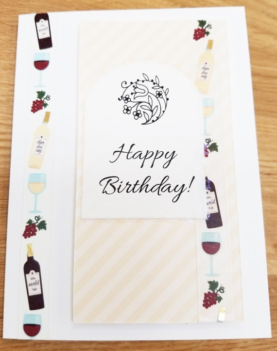 Awe Inspiring Happy Birthday Wine Handmade Greeting Card Wine Lover Etsy Personalised Birthday Cards Paralily Jamesorg