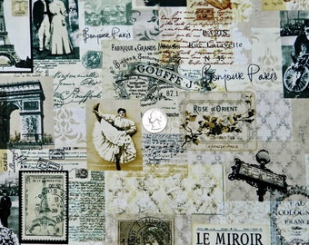 Bonjour Paris - Fabric By The Half Yard 18 inches x 44 inches
