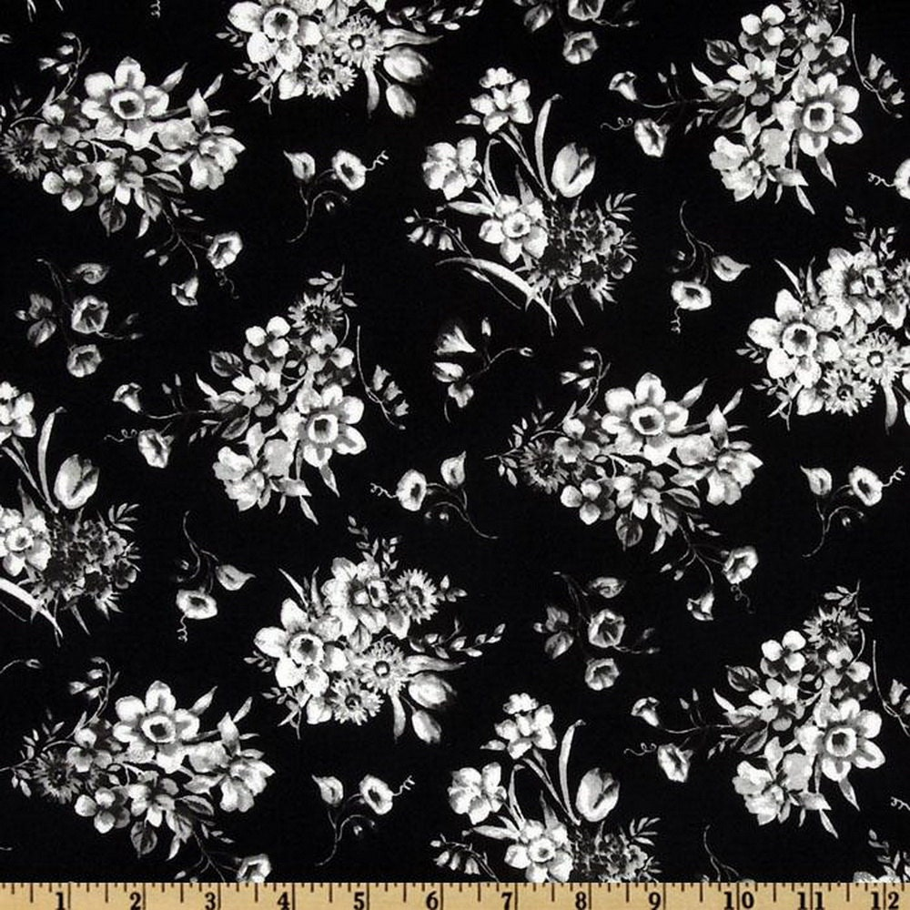 Black and white flower bouquet stencil fabric by the half etsy 50 izmirmasajfo