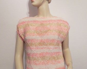4e03f46db7c16 t-shirt woman top drooping sleeves 100% cotton pastel color hand knitted  orange ecru almond size 38 40 free shipping FRANCE