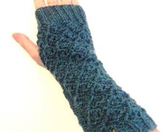 Peacock blue fingerless gloves hand knitted wool mittens winter women fashion accessories