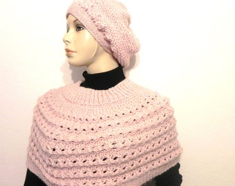 shoulder most hat handknitted wool and mohair pink blush shawl stole winter women fashion accessories