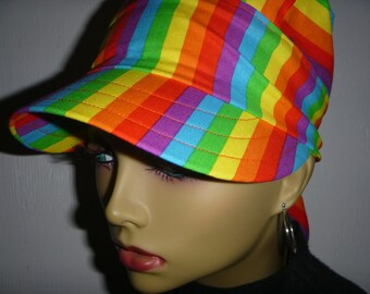 b4f48876 Rainbow Striped Cotton Womens Sun Hat Self Tying Bandana Do rag for Cancer  Hair Loss Illness Alopecia or Chemo, Head Scarf Red Yellow Orange