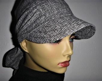 9725ead8 Black White Cotton Chemo Hat Self Tying Bandana Do rag for Cancer Hair Loss  Illness Alopecia or Chemo, Womens Sun Hat Head Scarf with Visor