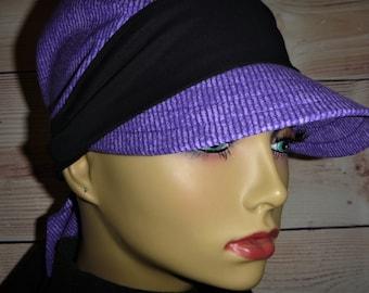 3f9328c6420 Beautiful Purple Chemo Hat Self Tying Headscarf