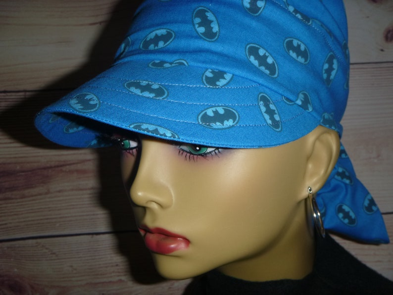Womens Blue Chemo Sun Hat Fun action hero print Blue Bat Bandana Do Rag self tying comfort for illness Cancer Hair Loss Chemo