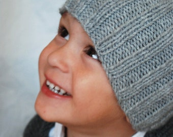 Hand Knit Ribbed Hat in Your Choice of Size, Toddler to Young Adult