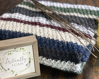 Chunky Wool Blend Throw Blanket in Shades of Maroon, Blue, Green, and Cream