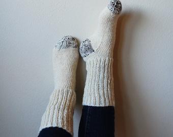 Cream and Chocolate Hand Spun Hand Knit Socks Men and Women Sizes