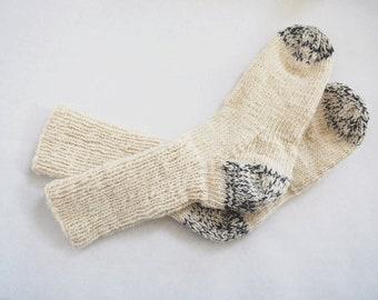 Cream and Stone Grey Hand Spun Hand Knit Socks Men and Women Sizes