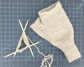 Natural Heather Fingerless Texting Gloves Man, Woman, Child Size