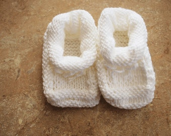 Cotton White Baby Booties