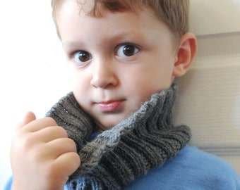 Hand Knit Grey Neck Cowl Toddler Child Sized
