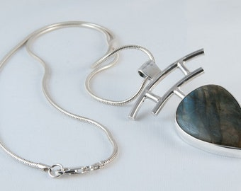 Heavy hand made Labradorite silver pendant on snake chain evening pendant   15% OFF