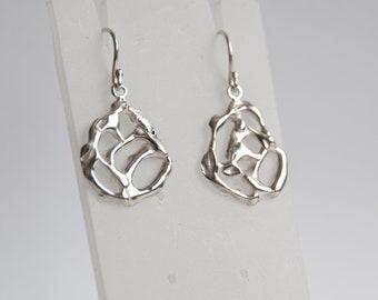 Free form molten rock, lava style silver earrings