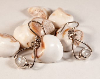 Oval Moonstone Earrings hand made with silver wire decoration