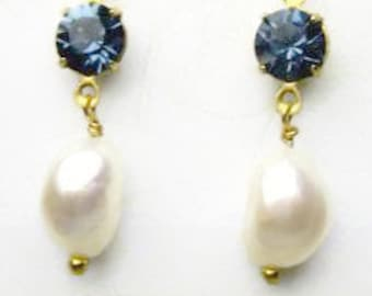 Crystal and Baroque Pearl Earrings
