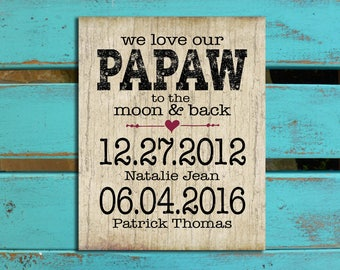 Love you to the moon, Papaw gift, Grandpa gift, Papa gift Fathers Day gift from grandkids, , Father's Day gift for Dad, Family Birthdates